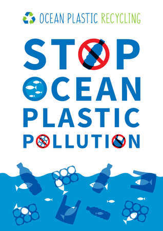Stop ocean plastic pollution vector illustration. Plastic garbage, bag, bottle in the ocean graphic design. Water waste problem creative concept. Eco problem banner with restrictive sign.