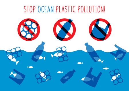 Stop ocean plastic pollution illustration vectorielle. Poubelles en plastique, sac, bouteille dans le design graphique de l'océan. Concept créatif de problèmes de déchets d'eau. Bannière éco problème avec signe restrictif.