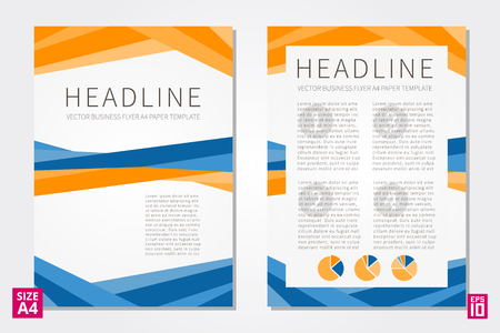 Vector flyer, poster, leaflet, annual report design template with sample text. Layout design, A4 paper design template, fully layered design, business vector illustration, presentation. Çizim