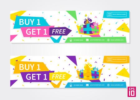 ベクトル カラフルなプロモーションのバナーを購入する 1 を得る 1 無料。ビジネス提供チラシ テンプレート。