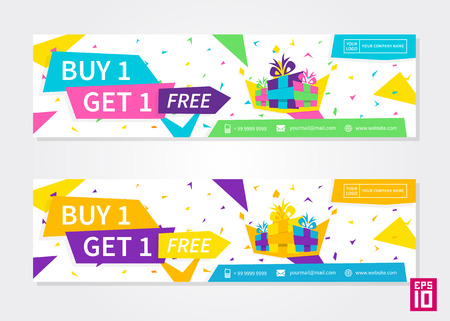 Vector colorful promotion banner Buy 1 Get 1 Free. Business offer flyer template. Ilustrace