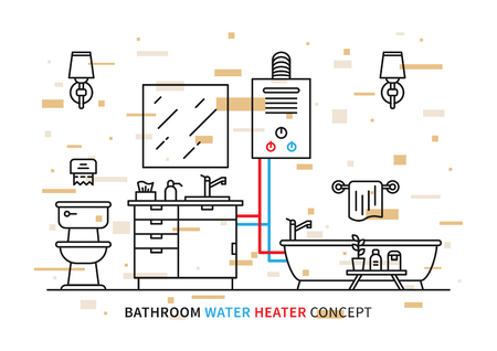 Badkamer boiler geiser vector illustratie met kleurrijke elementen. Badkamersbinnenland met binnenlands boiler grafisch ontwerp.