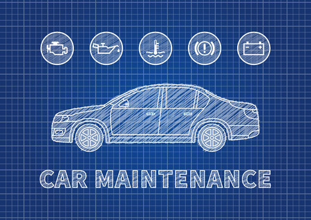 Blue print car maintenance vector illustration. Car technical service concept with warning signs: check engine, oil pressure, generator, coolant level, brake system.