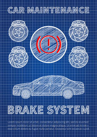 disk break: Brake system car maintenance vector illustration. Check brake system sign graphic design. Blue print concept of service maintenance banner with car and sample text. Illustration