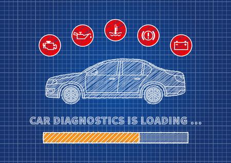 Blaue Druck Auto Wartung Vektor-Illustration. Auto-Service-Konzept ...
