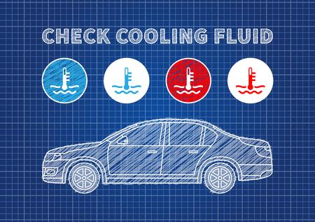 Check cooling fluid indicators vector illustration. Car coolant signs blue print graphic design. Coolant car engine creative concept.