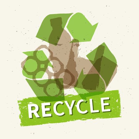 Recycle garbage vector illustration. Plastic and metal rubbish recycling creative concept. Bottle, can, plastic bag with word Recycle graphic design.