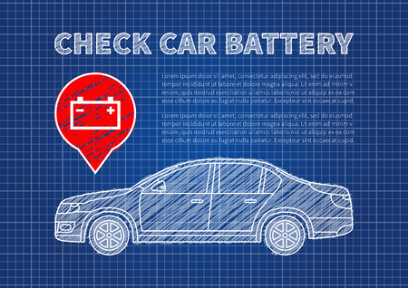 indicate: Check car battery vector illustration. Accumulator sign blue print graphic design. Car battery symbol creative concept.