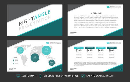 infochart: Corporate presentation template. Modern business presentation 16:9 format graphic design. Minimalistic layout with infographic, front page, content page, diagram. Easy to use, edit and print.