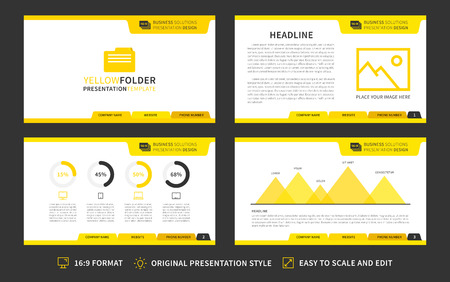 Corporate presentation vector template. Modern business presentation 16:9 format graphic design. Minimalistic layout with infographic, front page, content page, diagram. Easy to use, edit and print.