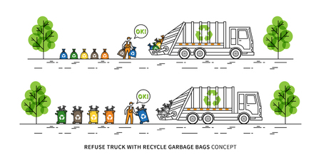 Refuse truck with recycle garbage bags vector illustration. Dustman takes out rubbish bins and bags to garbage truck line art concept.