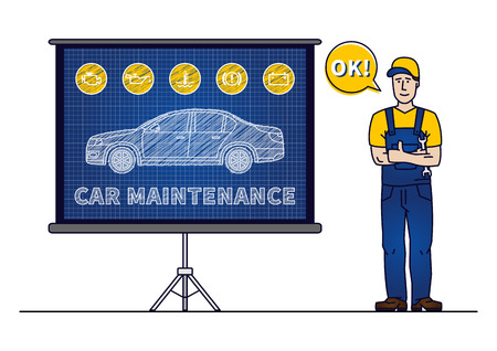Serviceman with car maintenance chart board vector illustration. Car technical service concept with warning signs: check engine, oil pressure, generator, coolant level, brake system. Illustration