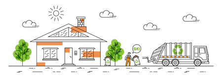 House and garbage truck with recycle sign vector illustration. Dustman carries out rubbish bin line art concept.