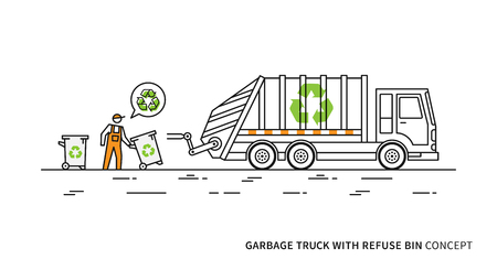 dispose: Refuse vehicle with dustbins vector illustration. Garbage truck with dustman and recycle sign graphic design.