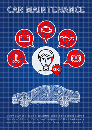 Car maintenance manager blue print vector illustration. Car technical assistant concept with warning signs: check engine, oil pressure, generator, coolant level, brake system.