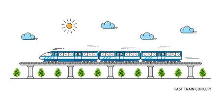 Ilustración de vector de tren rápido. Concepto de arte de línea de tren. La locomotora en el diseño gráfico de los carriles. Ilustración de vector