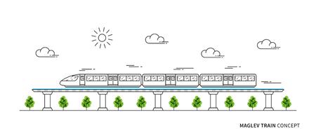 Ilustración del vector del tren del tren de Maglev. Concepto de arte de línea de tren rápido eléctrico. Metro de monorraíl con diseño gráfico de la tecnología de la levitación del imán.