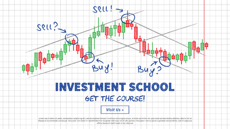 Investment school vector illustration. Japanese candlestick chart with lines of support and resistance creative concept.