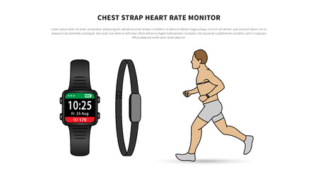 Heartbeat Line Art : Sport watch with chest strap vector illustration heart rate