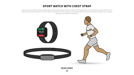 Sport watch with chest strap vector illustration. Heart rate monitor watch for sport and fitness line art concept. Activity tracker with chest-based heart rate monitoring graphic design. Çizim