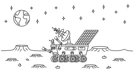 Moon rover illustration. Ilustração Vetorial