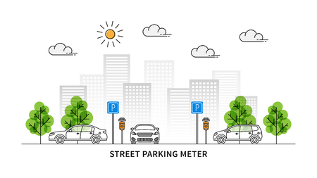 Street parking meter vector illustration. Cars and parking meters with solar panels line art concept. Urban landscape with traffic signs and cars graphic design. Vektorové ilustrace