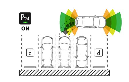 Parking assist system vector illustration. Autonomous car technology with sensors line art concept. Smart car assistance autopilot outline graphic design.