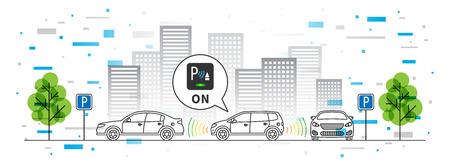Parkeer sensor vector illustratie met kleurrijke elementen. Autonome auto-technologie lijntekeningen concept. Intelligent parkeerhulpsysteem grafisch ontwerp. Intelligente sensoren scannen vrije ruimte om te parkeren.