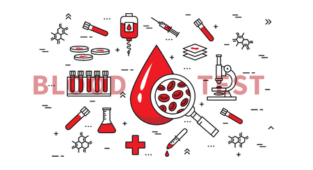 Blood test vector illustration. Medical healthcare blood and plasma research, analysis and examination line art concept. Blood drop and medical equipment graphic design.