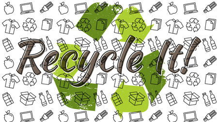 Recycle it vector illustration. Recyclable things clothes, lamp, cardboard box, electronics, bottles, food, paper, packaging line art pattern with recycle sign on the background.
