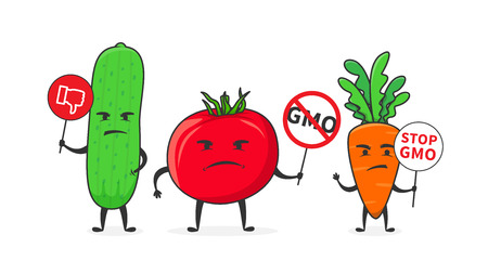 Vegetables say stop gmo vector illustration. Cucumber, tomato and carrot oppose GMO food creative concept. Illustration