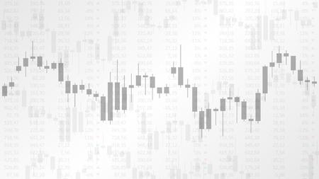 회색 배경에 금융 시장 벡터 일러스트 레이 션에 촛대 차트. 외환 거래 그래픽 디자인 개념입니다.