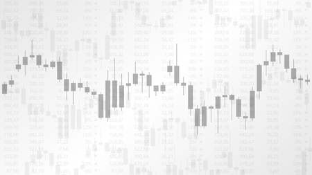 Candlestick chart in financial market vector illustration on the grey background. Forex trading graphic design concept. Vettoriali