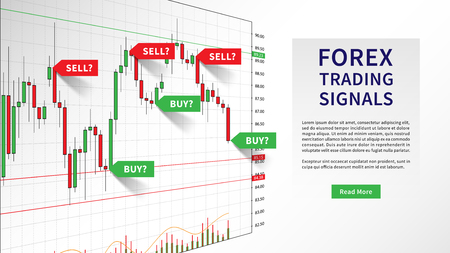 Forex Trading Indicators vector illustration. Online trading signals to buy and sell currency on the forex chart concept. Buy and sell indicators on the candlestick chart graphic design.