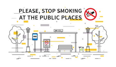 Bus stop no smoking vector illustration with colorful elements. Stop smoking sign at the public place line art concept. Ilustração