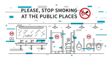 Public restroom no smoking vector illustration with colorful elements. Stop smoking sign at the public place line art concept. Ilustração