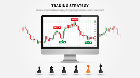 Forex trading strategy vector illustration. Investment strategies and online trading creative concept. Buy and sell indicators on the candlestick chart graphic design.