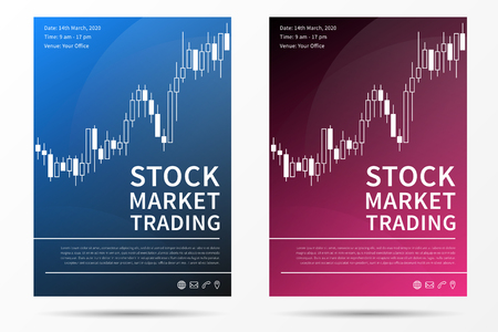 Stock market trading leaflet vector template. Forex trade promotion flyer creative concept. Çizim