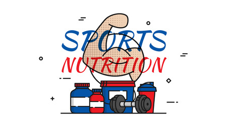 Sports Nutrition vector illustration. Protein, gainer, shaker, dumbbell, fat burner, protein bar, water bottle line art signs. Bodybuilding Sport Supplements graphic design.