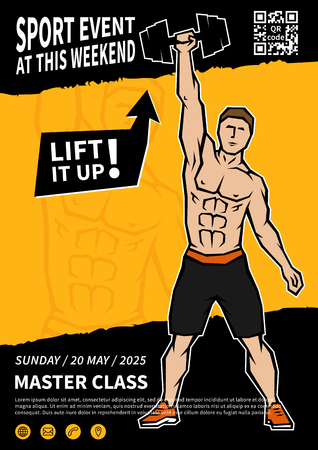 Athlete lifts dumbbell vector poster template. Sportsman does exercises with dumbbell creative flyer concept. Vettoriali