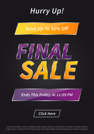 Banner Final Sale on black background vector illustration.