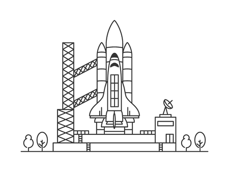 Space shuttle vector illustration. Space rocket graphic design.