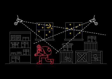 Robber in storehouse vector illustration. Night vision video camera surveillance line art concept. Video security graphic design. Video monitoring to avoid robbery, theft. Thief under detection. Illustration