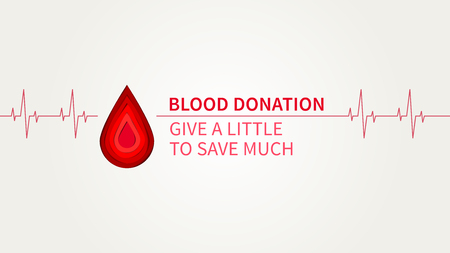 Blood Donation Give a little to save much vector illustration. Blood Donation creative concept with cardiogram element and paper cut style red drop. Lifesaver campaign poster template graphic design.