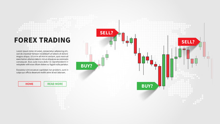 Forex trading promo page vector illustration. Web banner template for trading companies graphic design. Financial chart with signals to buy and sell for stock exchange market concept.
