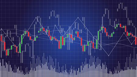 Candlestick chart in financial stock market vector illustration on dark background. Forex trading graphic design concept.