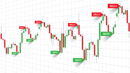 Forex Trade Signals vector illustration. Buy and sell signals indices of forex strategy on the candlestick chart graphic design.