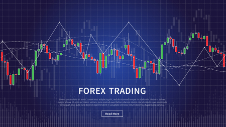 Candlestick chart in forex trade vector illustration on blue background. Forex trading financial stock market graphic design concept.