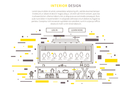 Interior design line vector illustration. Line graphic design of living room, furniture, table, home plants. Creative concept of modern interior design of apartment with furniture. Ilustrace