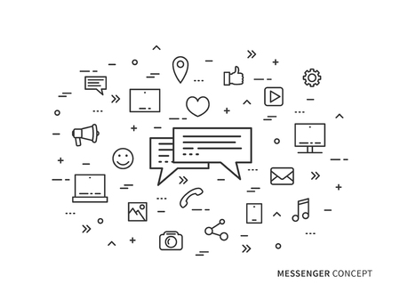 Messenger chat application linear vector illustration. Creative concept messaging, message speech, mobile app icons. Graphic design online chatting application. Outline messenger icons.